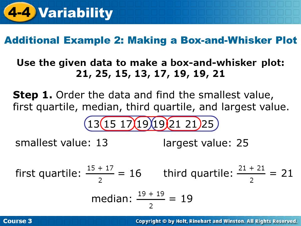 Use the given data to make a box-and-whisker plot: 21, 25, 15, 13, 17, 19, 19, 21 Additional Example 2: Making a Box-and-Whisker Plot Course 3 4-4 Var