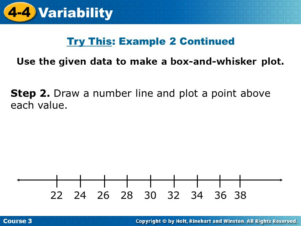 Use the given data to make a box-and-whisker plot. Course 3 4-4 Variability 22 24 26 28 30 32 34 36 38 Step 2. Draw a number line and plot a point abo