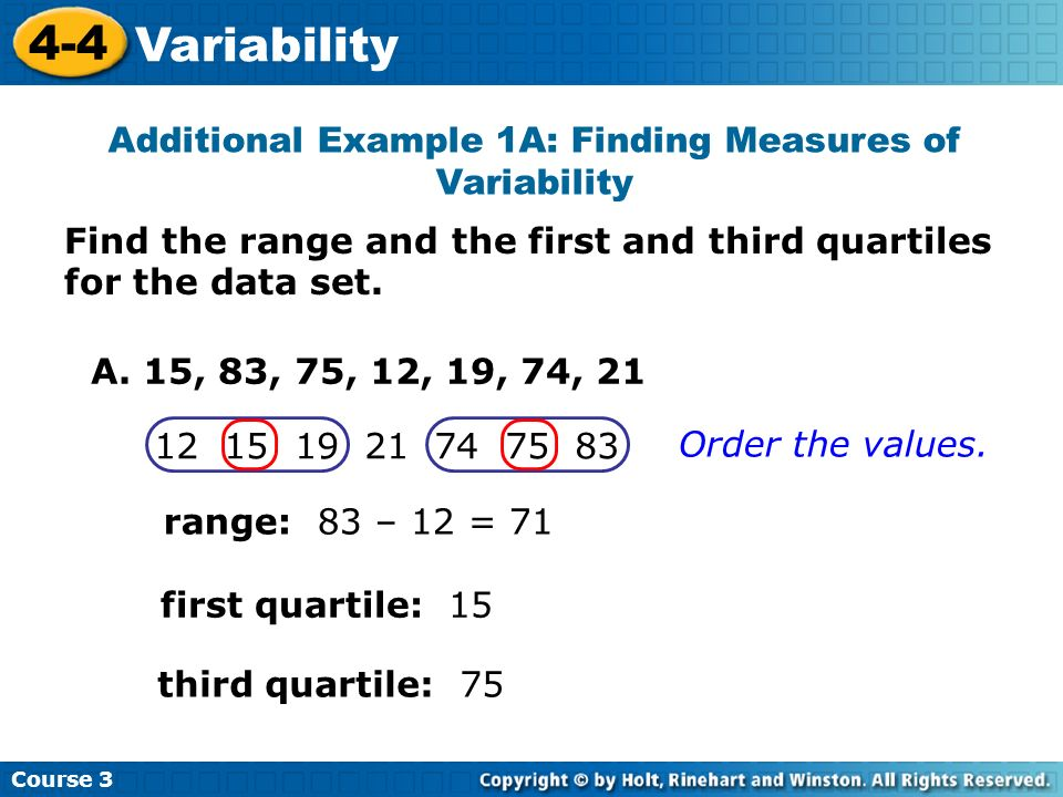 Find the range and the first and third quartiles for the data set. Additional Example 1A: Finding Measures of Variability Course 3 4-4 Variability A.