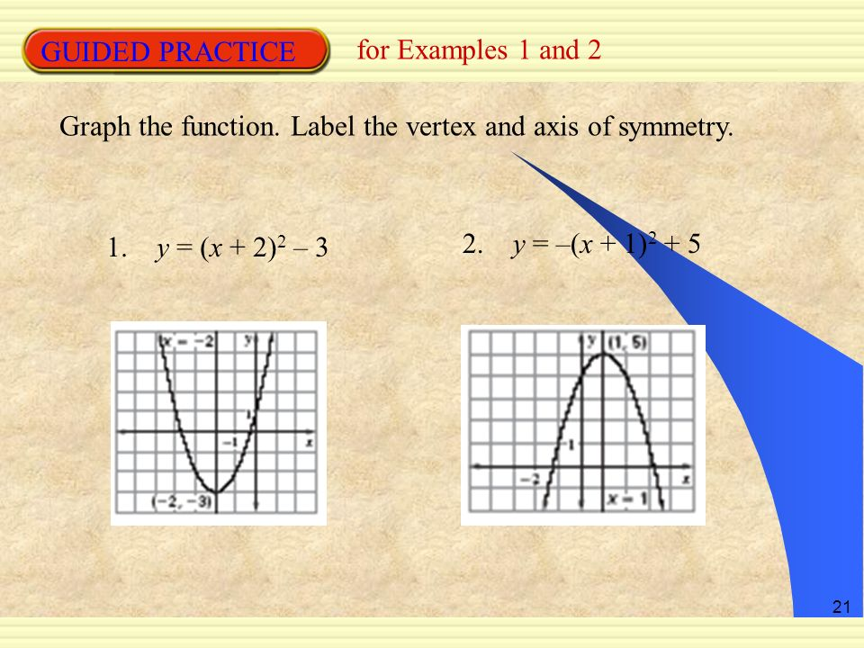 21 GUIDED PRACTICE for Examples 1 and 2 Graph the function. Label the vertex and axis of symmetry. 1. y = (x + 2) 2 – 3 2. y = –(x + 1) 2 + 5