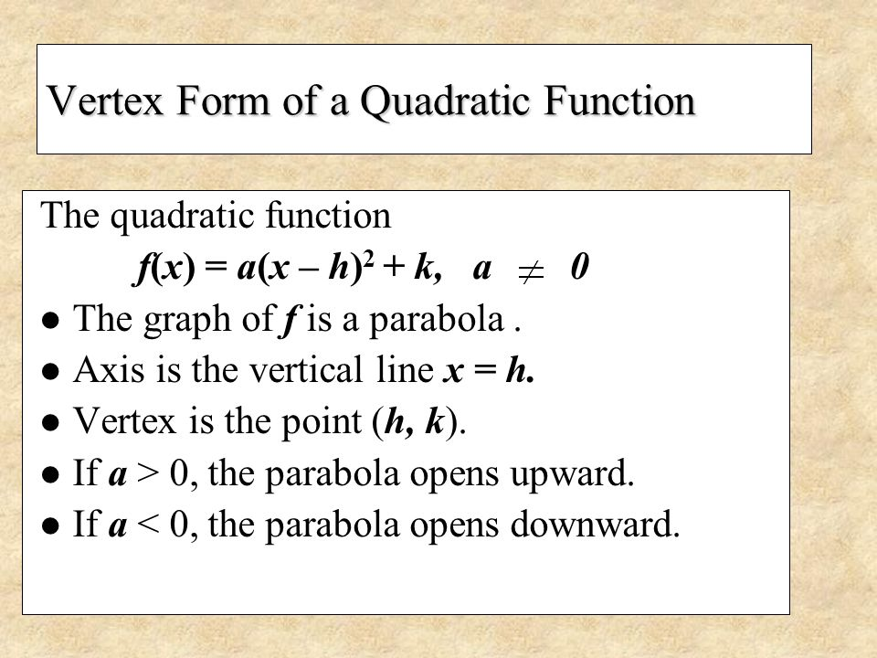 Vertex Form of a Quadratic Function The quadratic function f(x) = a(x – h) 2 + k, a 0 The graph of f is a parabola. Axis is the vertical line x = h. V