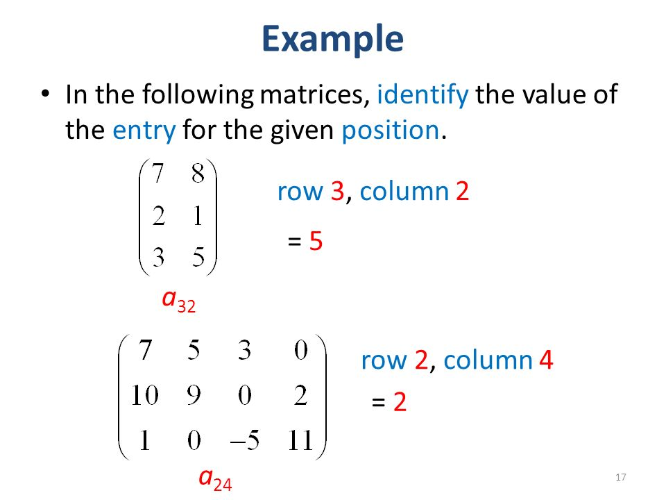Example In the following matrices, identify the value of the entry for the given position.