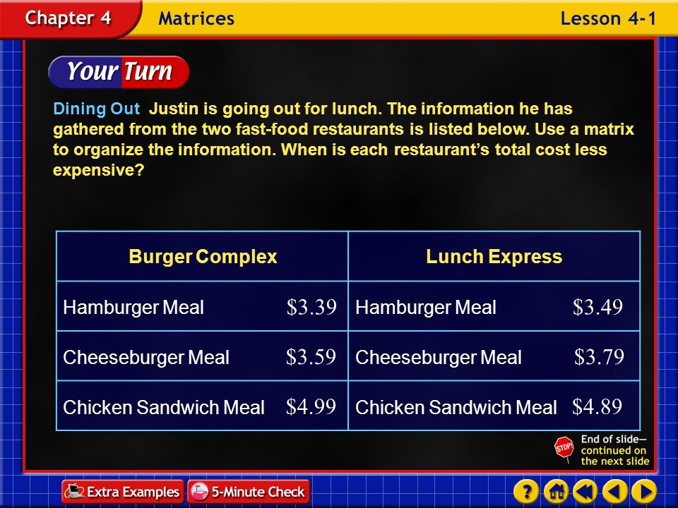 Example 1-1c Dining Out Justin is going out for lunch.