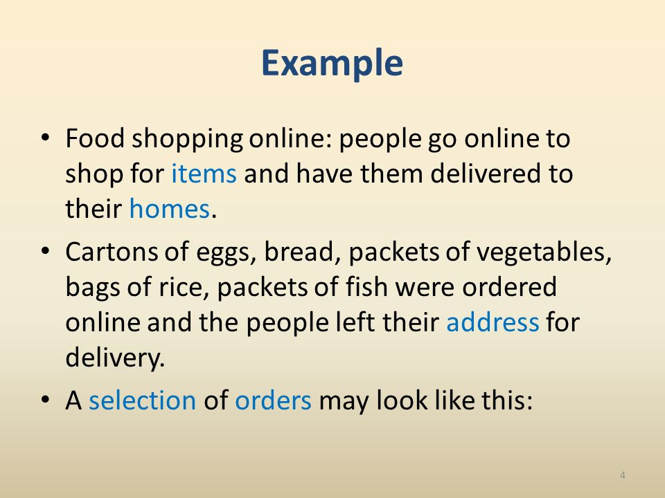 Example Food shopping online: people go online to shop for items and have them delivered to their homes.
