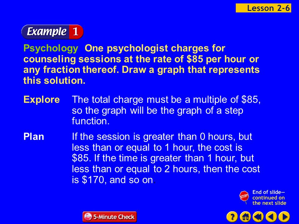 Example 6-1a Psychology One psychologist charges for counseling sessions at the rate of $85 per hour or any fraction thereof. Draw a graph that repres