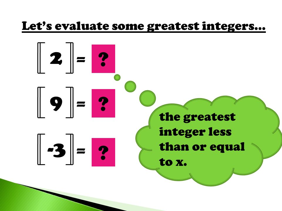 Lets evaluate some greatest integers… 2 = 9 = -3 = 2 ? 9 ? ? the greatest integer less than or equal to x.