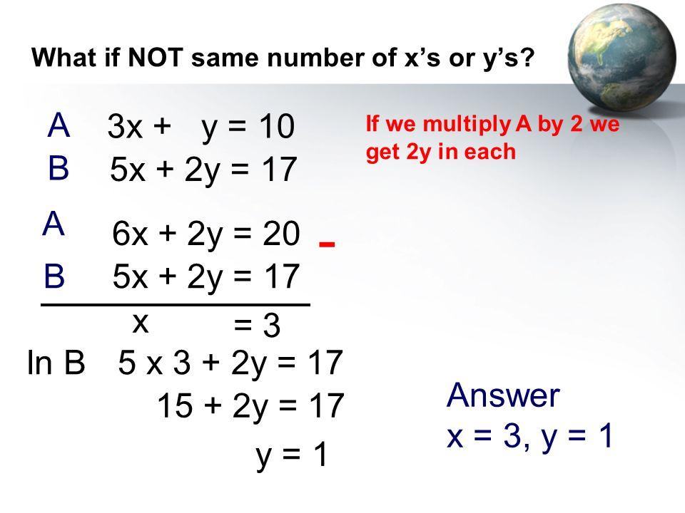 What if NOT same number of xs or ys? 5x + 2y = 17 3x + y = 10 - x = 3 In B A B 5 x 3 + 2y = 17 15 + 2y = 17 y = 1 Answer x = 3, y = 1 If we multiply A