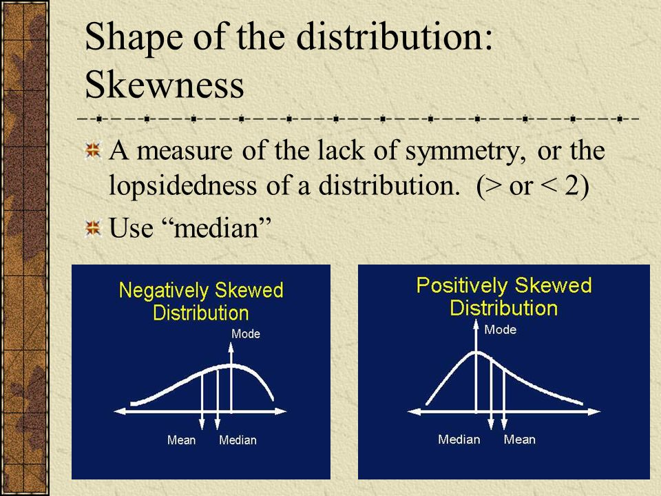 Shape of the distribution: Skewness A measure of the lack of symmetry, or the lopsidedness of a distribution. (> or < 2) Use median