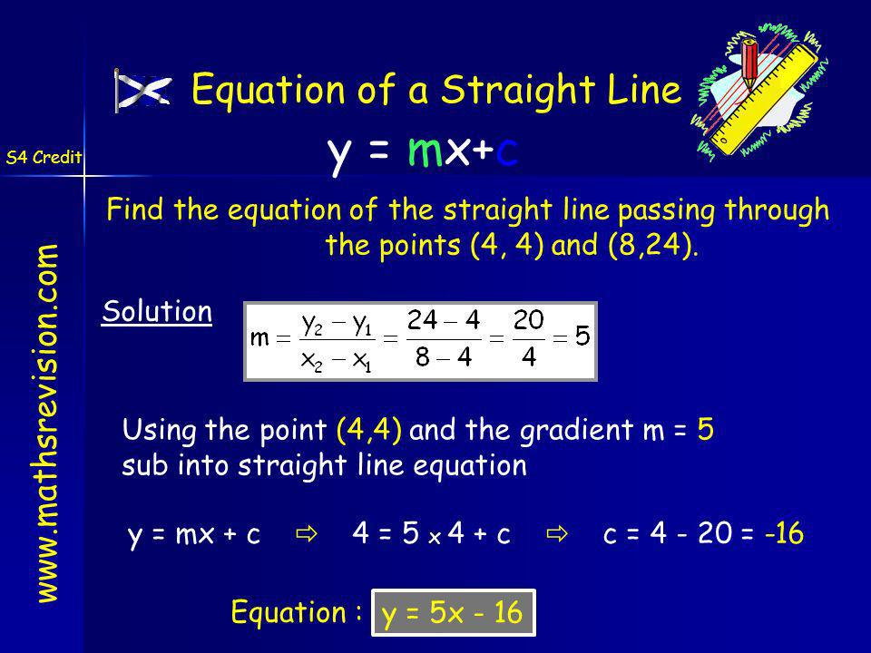 Find the equation of the straight line passing through the points (4, 4) and (8,24). Solution y = mx+c www.mathsrevision.com S4 Credit Equation of a S