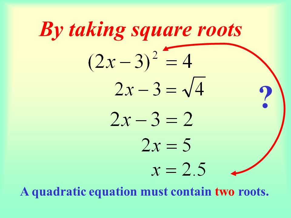 In this form we could have the case where b = 0. Remember standard form for a quadratic equation is: When this is the case, we get the x 2 alone and t