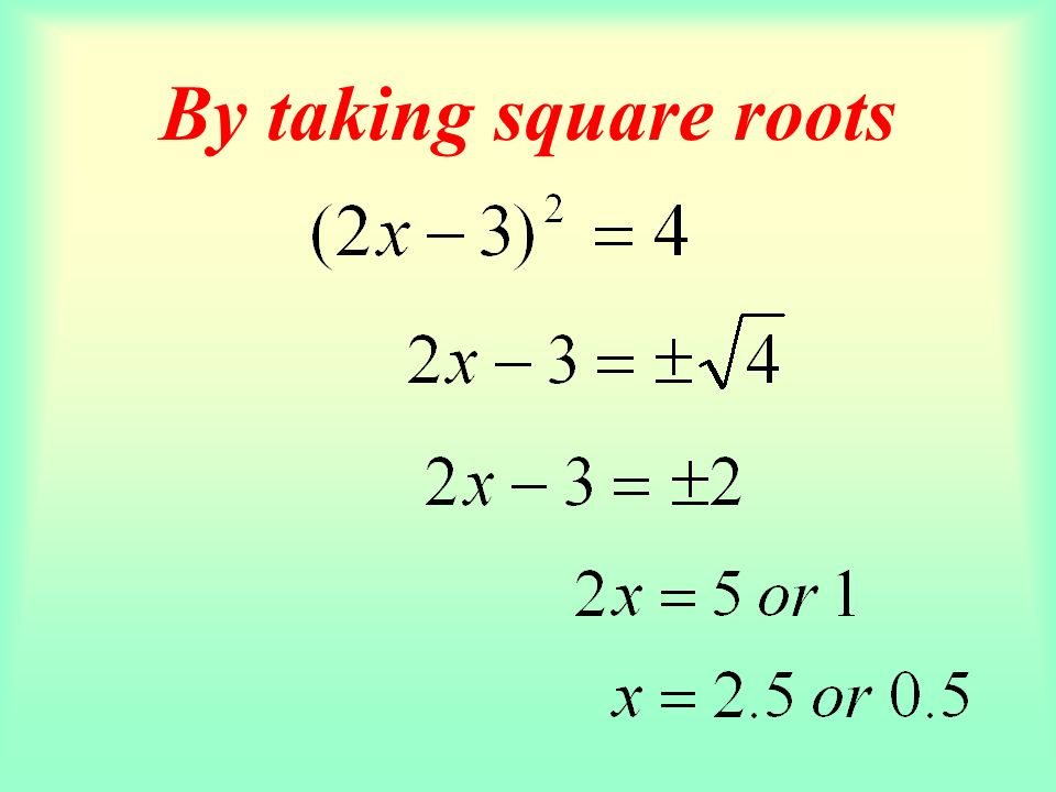 By taking square roots A quadratic equation must contain two roots. ?