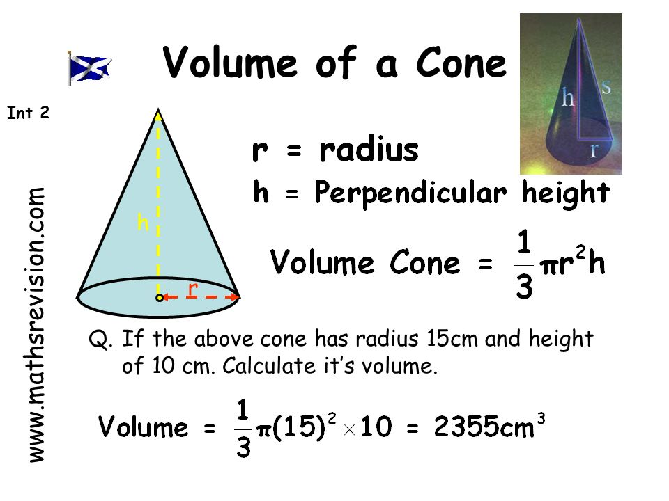 www.mathsrevision.com Int 2 Definition : A prism is a solid shape with uniform cross-section Cylinder (circular Prism) Pentagonal Prism Triangular Prism Hexagonal Prism Volume = Area of Cross section x length Volume of Solids