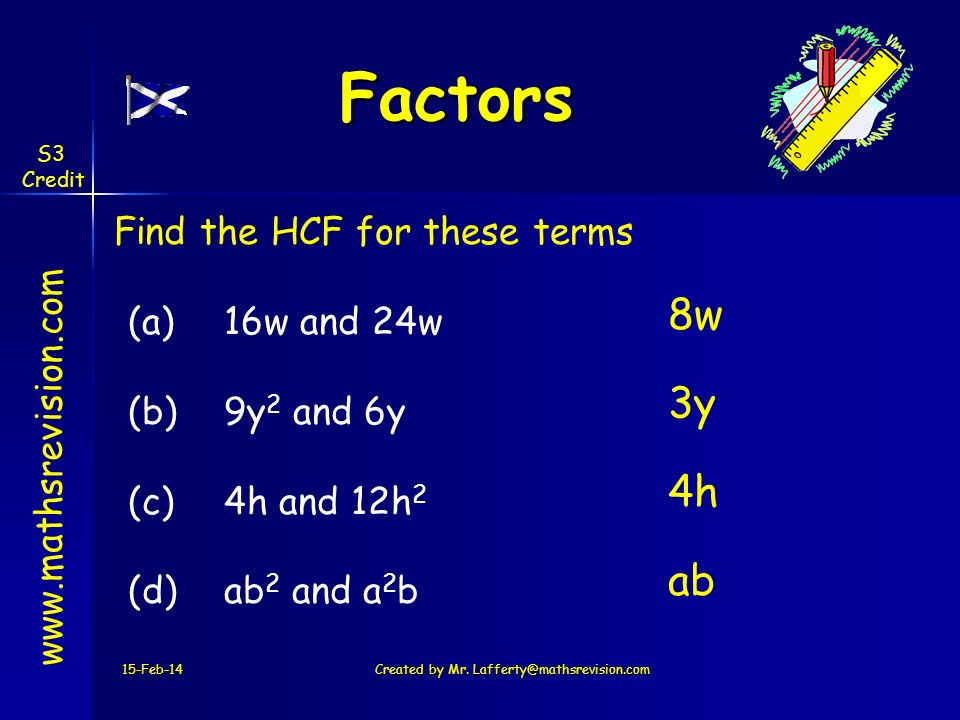 15-Feb-14Created by Mr. Lafferty@mathsrevision.com www.mathsrevision.com Factors Find the HCF for these terms (a)16w and 24w (b) 9y 2 and 6y (c) 4h an