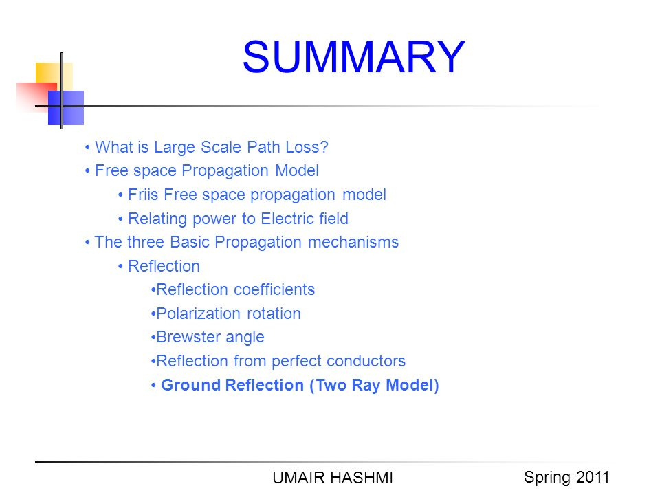 M. Junaid Mughal 2006 SUMMARY UMAIR HASHMI Spring 2011 What is Large Scale Path Loss? Free space Propagation Model Friis Free space propagation model