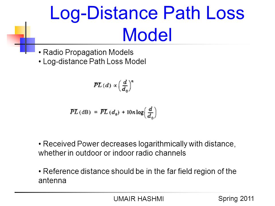 M. Junaid Mughal 2006 Log-Distance Path Loss Model UMAIR HASHMI Spring 2011 Radio Propagation Models Log-distance Path Loss Model Received Power decre