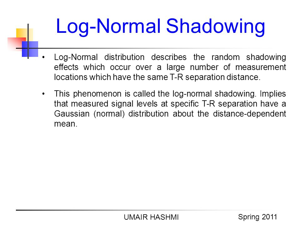 M. Junaid Mughal 2006 Log-Normal Shadowing UMAIR HASHMI Spring 2011 Log-Normal distribution describes the random shadowing effects which occur over a