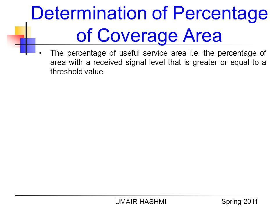 M. Junaid Mughal 2006 Determination of Percentage of Coverage Area UMAIR HASHMI Spring 2011 The percentage of useful service area i.e. the percentage
