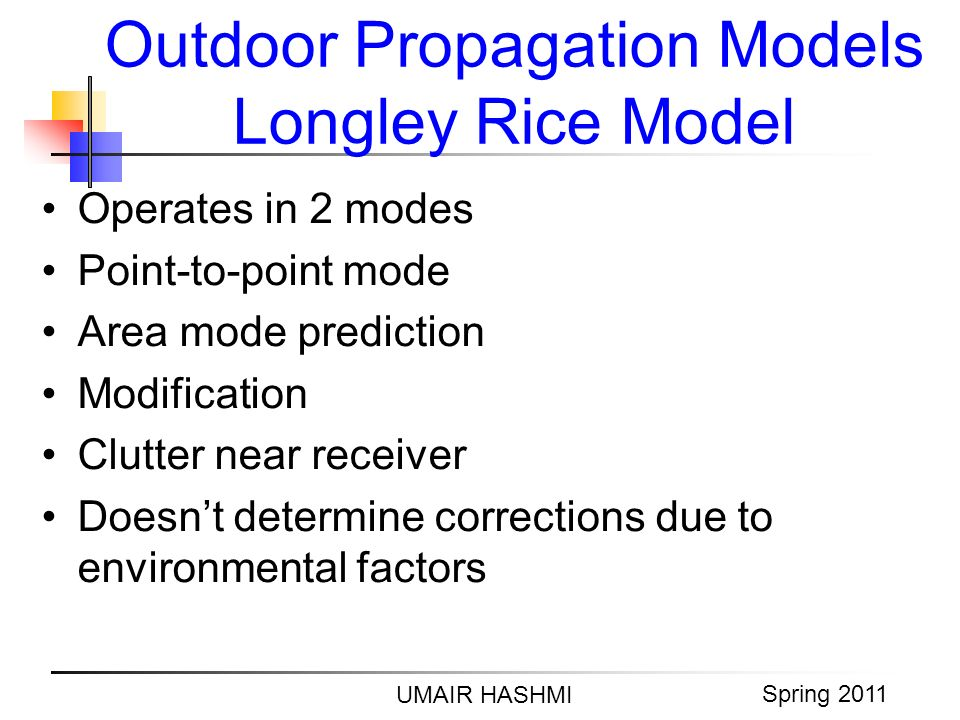 M. Junaid Mughal 2006 Outdoor Propagation Models Longley Rice Model UMAIR HASHMI Spring 2011 Operates in 2 modes Point-to-point mode Area mode predict