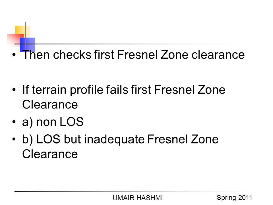 M. Junaid Mughal 2006 UMAIR HASHMI Spring 2011 Then checks first Fresnel Zone clearance If terrain profile fails first Fresnel Zone Clearance a) non L