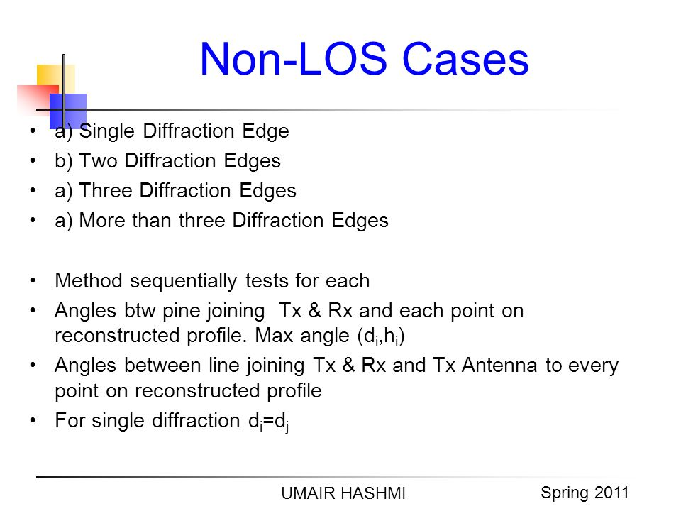 M. Junaid Mughal 2006 Non-LOS Cases UMAIR HASHMI Spring 2011 a) Single Diffraction Edge b) Two Diffraction Edges a) Three Diffraction Edges a) More th