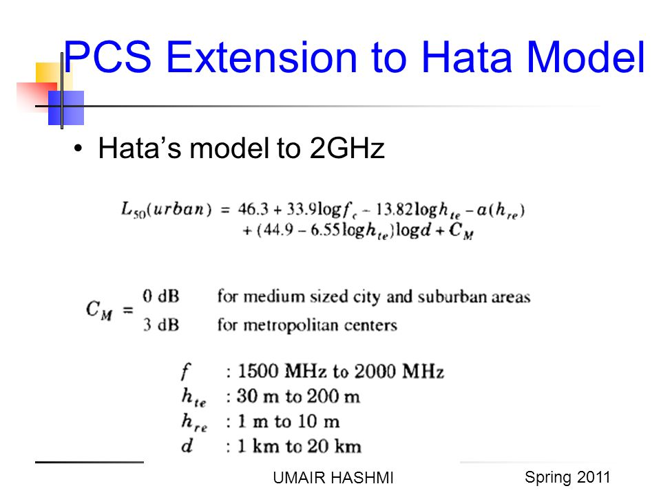 M. Junaid Mughal 2006 PCS Extension to Hata Model UMAIR HASHMI Spring 2011 Hatas model to 2GHz