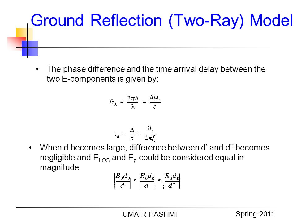 M. Junaid Mughal 2006 Ground Reflection (Two-Ray) Model UMAIR HASHMI Spring 2011 The phase difference and the time arrival delay between the two E-com