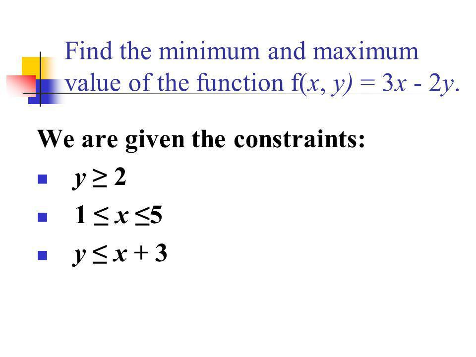 Find the minimum and maximum value of the function f(x, y) = 3x - 2y.