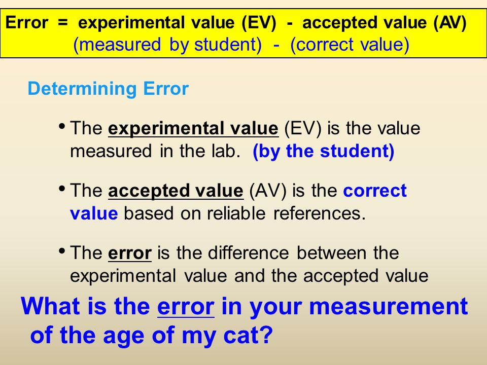 Determining Error The experimental value (EV) is the value measured in the lab.
