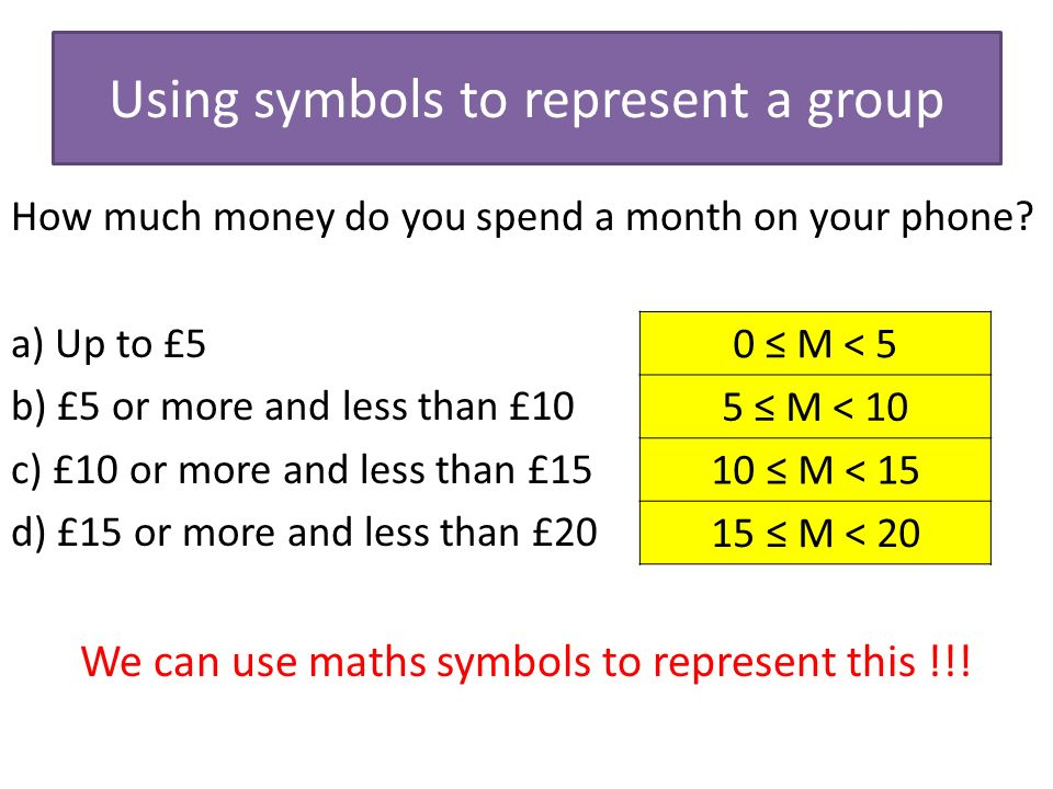 Using symbols to represent a group How much money do you spend a month on your phone.