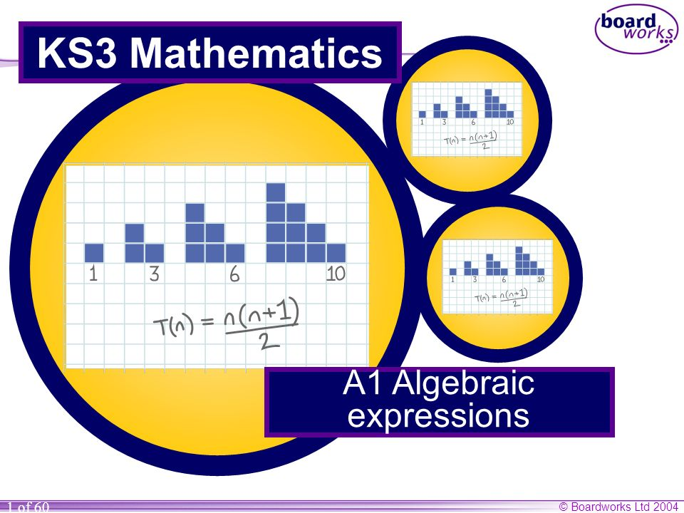 © Boardworks Ltd 2004 1 of 60 KS3 Mathematics A1 Algebraic expressions
