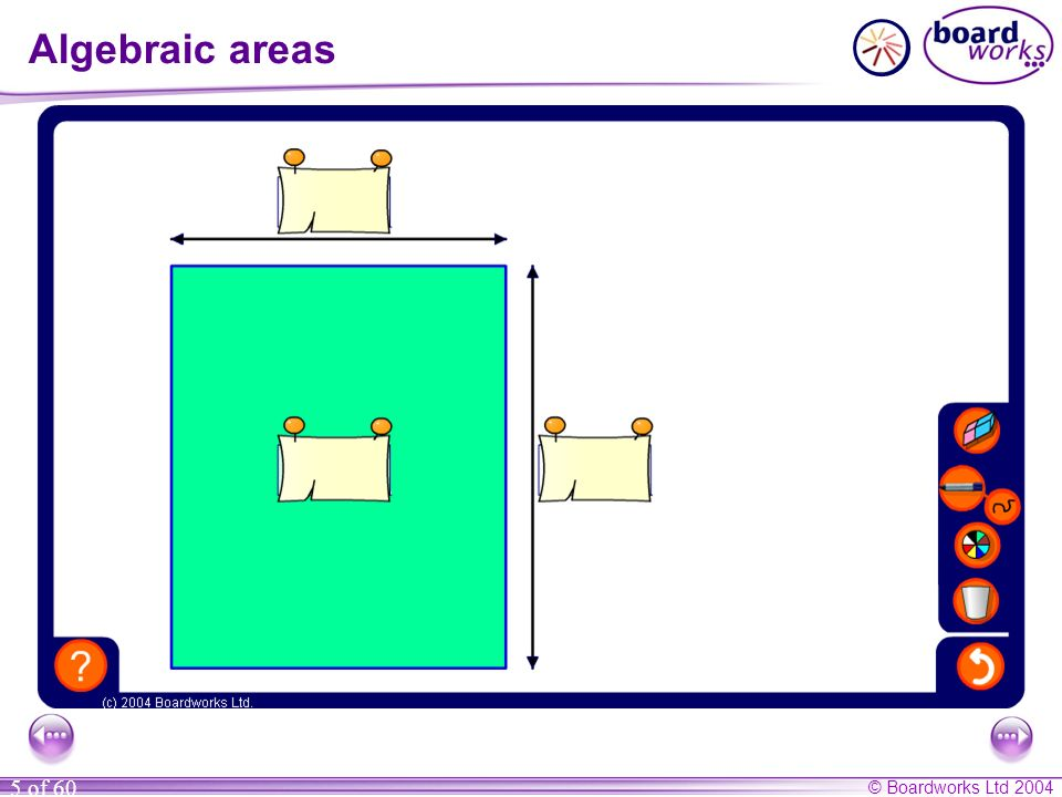 © Boardworks Ltd 2004 5 of 60 Algebraic areas