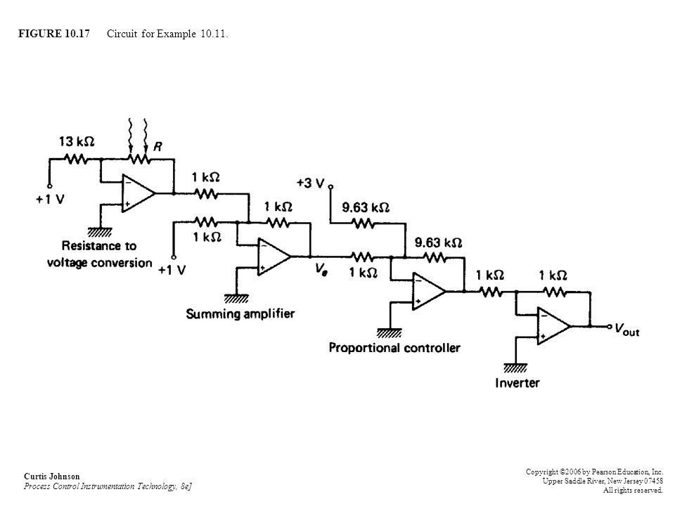 FIGURE 10.17 Circuit for Example 10.11. Curtis Johnson Process Control Instrumentation Technology, 8e] Copyright ©2006 by Pearson Education, Inc. Uppe