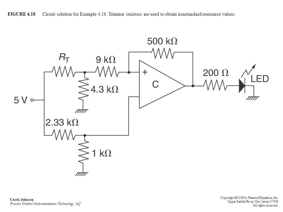 FIGURE 4.18 Circuit solution for Example 4.18. Trimmer resistors are used to obtain nonstandard resistance values. Curtis Johnson Process Control Inst