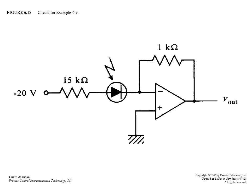FIGURE 6.18 Circuit for Example 6.9. Curtis Johnson Process Control Instrumentation Technology, 8e] Copyright ©2006 by Pearson Education, Inc. Upper S