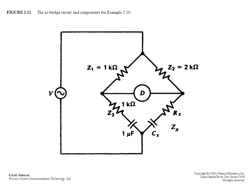 FIGURE 2.11 The ac bridge circuit and components for Example 2.10. Curtis Johnson Process Control Instrumentation Technology, 8e] Copyright ©2006 by P
