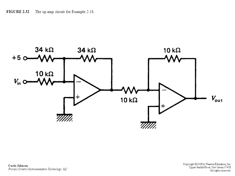 FIGURE 2.32 The op amp circuit for Example 2.18. Curtis Johnson Process Control Instrumentation Technology, 8e] Copyright ©2006 by Pearson Education,
