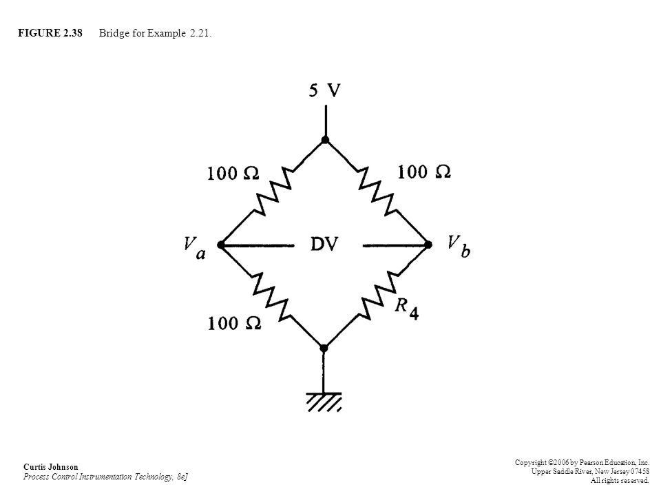 FIGURE 2.38 Bridge for Example 2.21. Curtis Johnson Process Control Instrumentation Technology, 8e] Copyright ©2006 by Pearson Education, Inc. Upper S