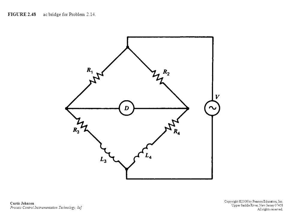 FIGURE 2.48 ac bridge for Problem 2.14. Curtis Johnson Process Control Instrumentation Technology, 8e] Copyright ©2006 by Pearson Education, Inc. Uppe