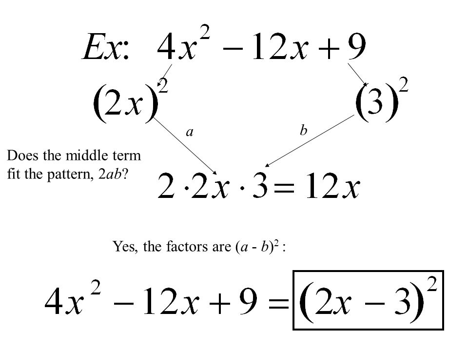 Does the middle term fit the pattern, 2ab? Yes, the factors are (a - b) 2 : b a