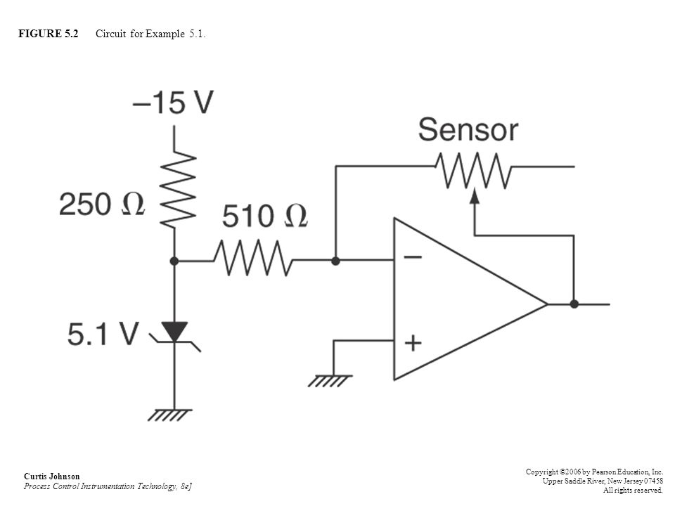 FIGURE 5.2 Circuit for Example 5.1. Curtis Johnson Process Control Instrumentation Technology, 8e] Copyright ©2006 by Pearson Education, Inc. Upper Sa