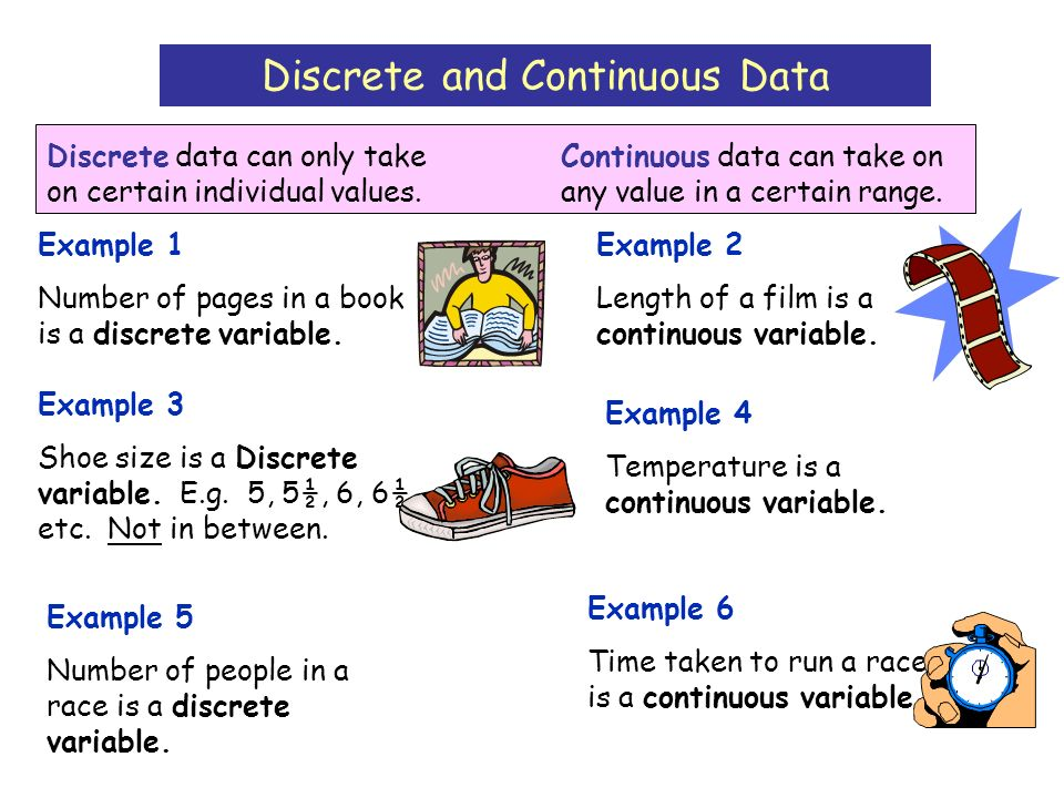 Discrete and Continuous Data Discrete data can only take on certain individual values.
