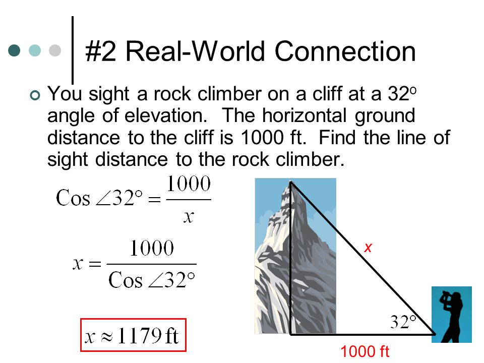 #2 Real-World Connection You sight a rock climber on a cliff at a 32 o angle of elevation.