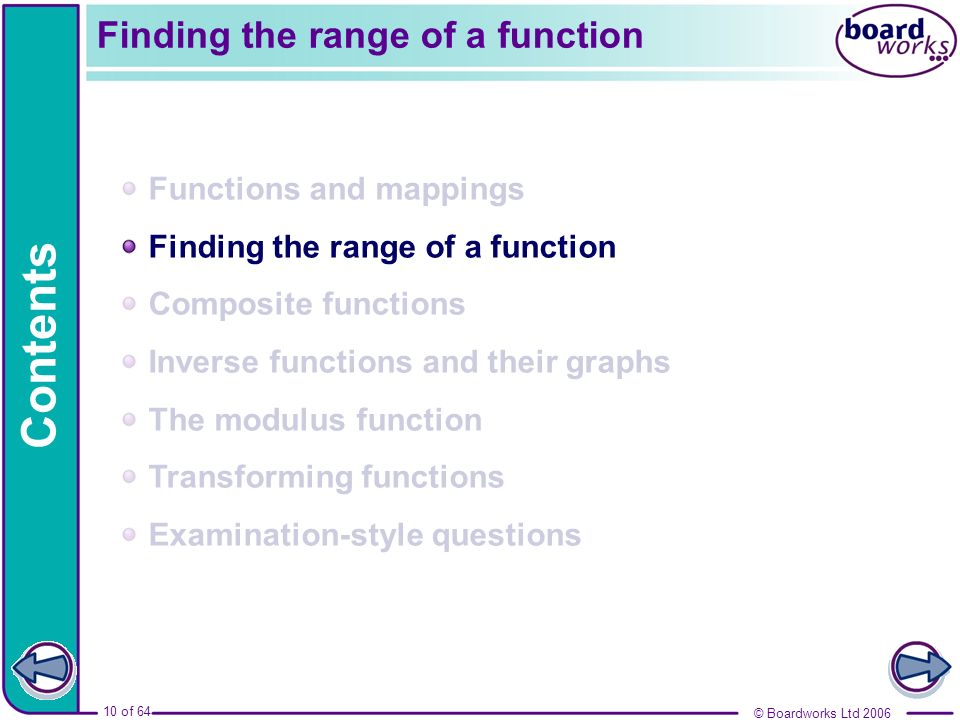© Boardworks Ltd 2006 10 of 64 Functions and mappings Finding the range of a function Composite functions Inverse functions and their graphs The modul