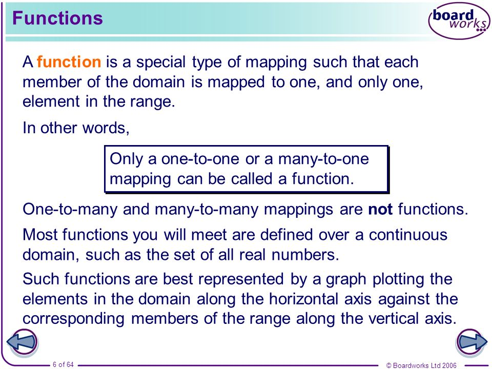 © Boardworks Ltd 2006 6 of 64 Functions A function is a special type of mapping such that each member of the domain is mapped to one, and only one, el