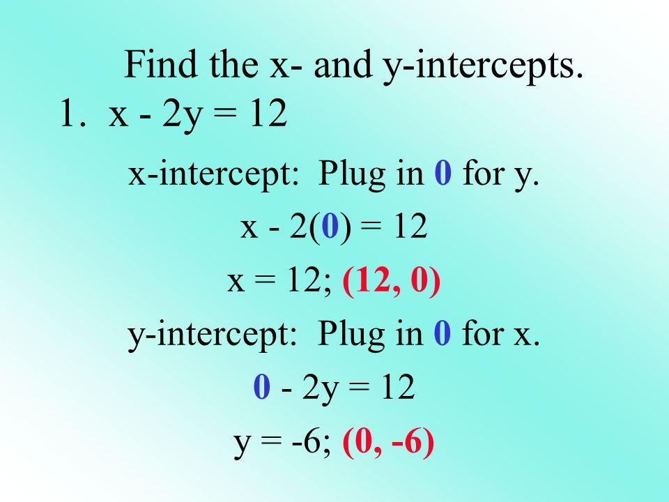 Find the x- and y-intercepts. 1. x - 2y = 12 x-intercept: Plug in 0 for y. x - 2(0) = 12 x = 12; (12, 0) y-intercept: Plug in 0 for x. 0 - 2y = 12 y =