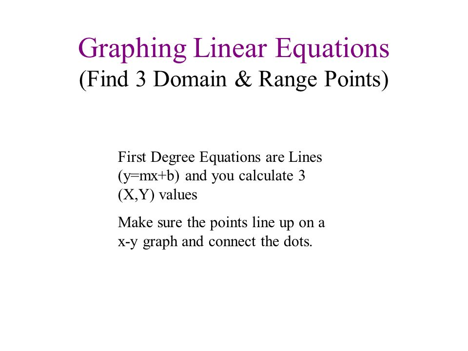 Graphing Linear Equations (Find 3 Domain & Range Points) First Degree Equations are Lines (y=mx+b) and you calculate 3 (X,Y) values Make sure the poin