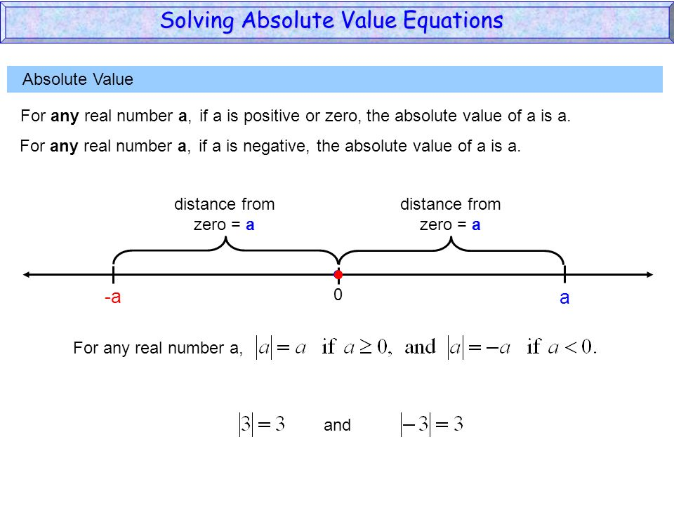 Absolute Value For any real number a,if a is positive or zero,the absolute value of a is a. 0 a distance from zero = a distance from zero = a For any