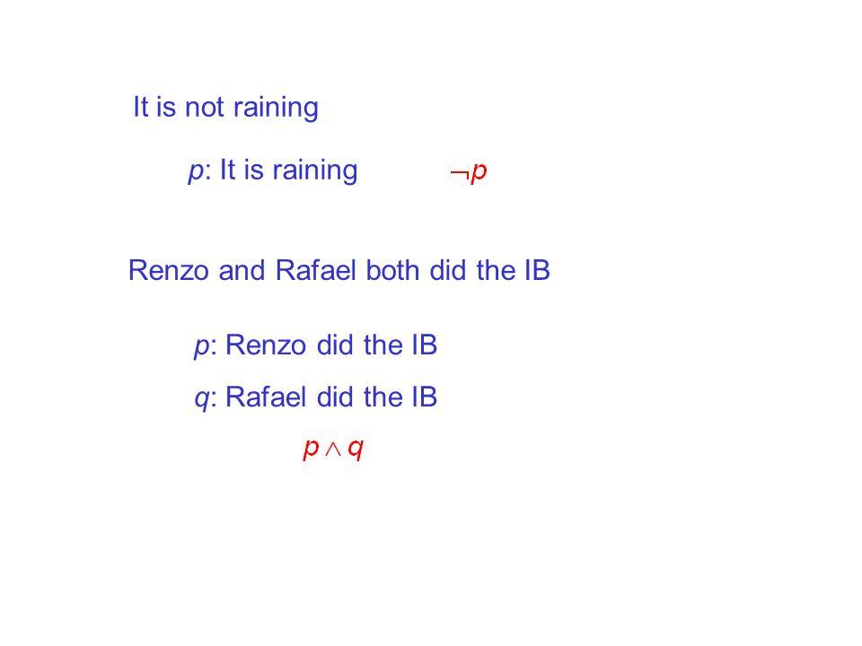 It is not raining p: It is raining Renzo and Rafael both did the IB p: Renzo did the IB q: Rafael did the IB