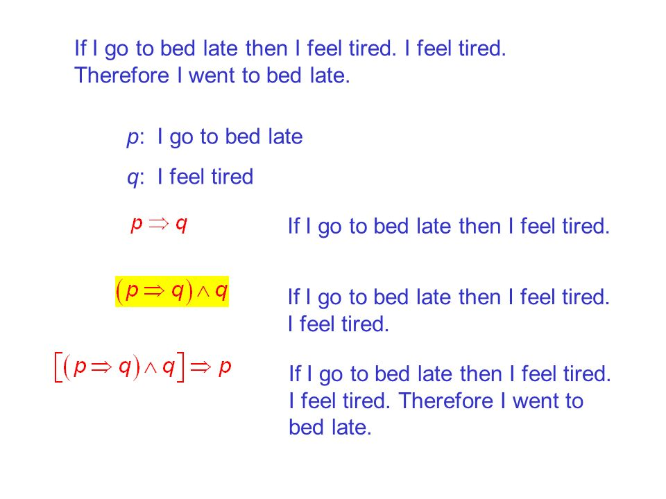 If I go to bed late then I feel tired. I feel tired. Therefore I went to bed late. p: I go to bed late q: I feel tired If I go to bed late then I feel