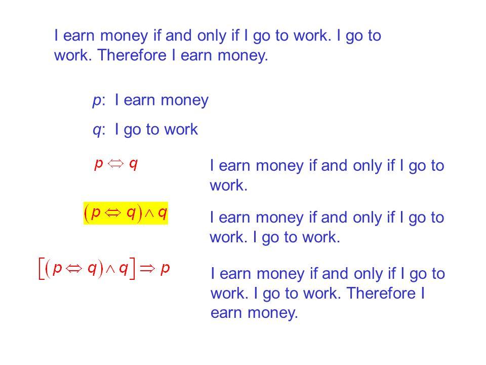 I earn money if and only if I go to work. I go to work. Therefore I earn money. p: I earn money q: I go to work I earn money if and only if I go to wo
